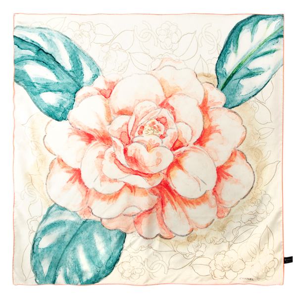 Pre-owned Chanel White & Coral Camellia Print Silk Scarf