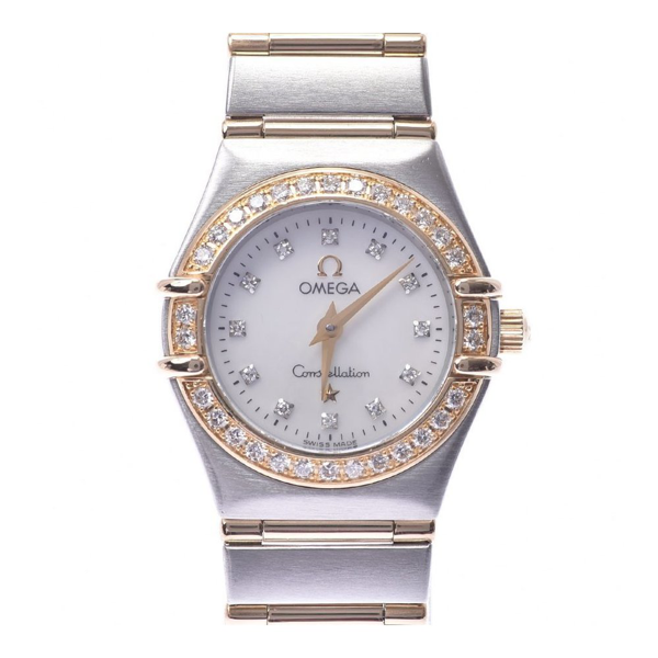 Pre-owned Omega Mop Diamonds 18k Yellow Gold And Stainless Steel Constellation 1267.75 Quartz Women's Wristwatch 22  In White