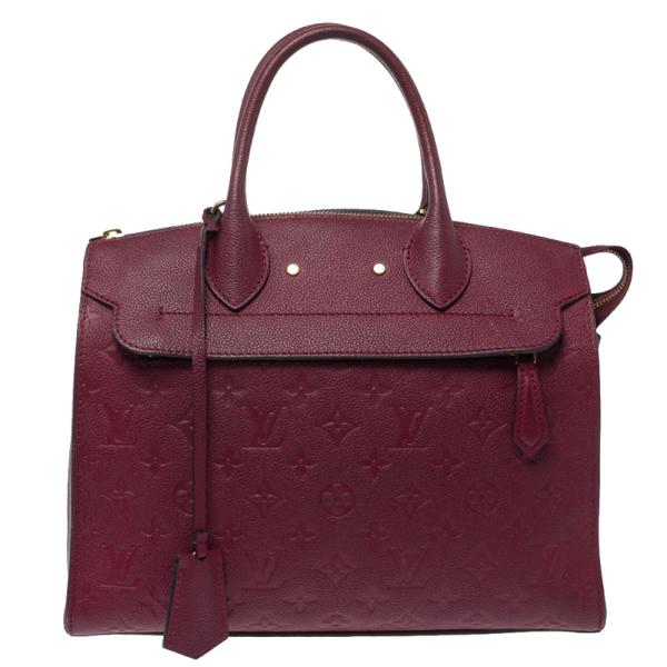 Pre-owned Louis Vuitton Aurore Monogram Empreinte Leather Pont Neuf Mm Bag In Burgundy