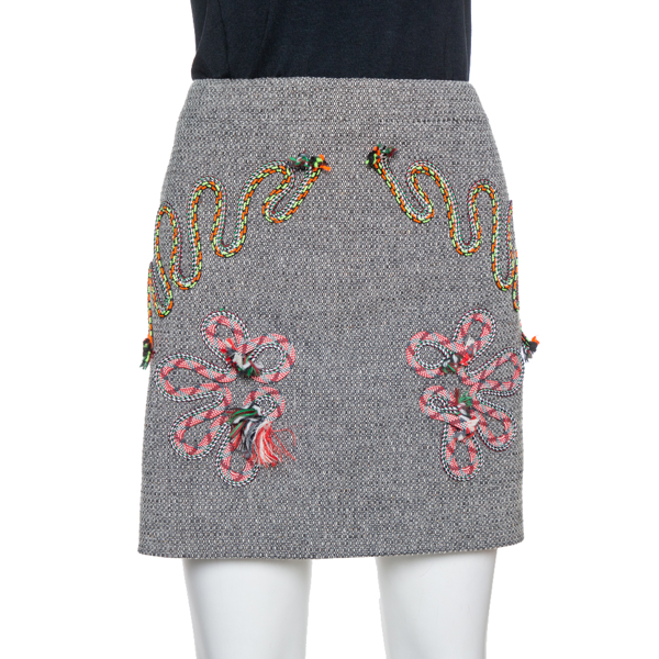 Pre-owned Stella Mccartney Grey Tweed Embroidered Mini Skirt M