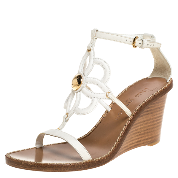 Pre-owned Louis Vuitton White Leather Strappy Wedge Sandals Size 37.5