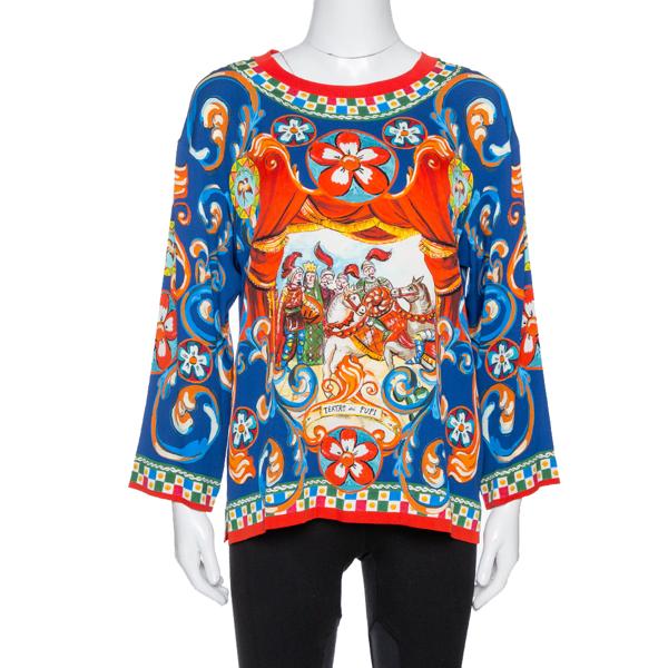 Pre-owned Dolce & Gabbana Blue Carretto Siciliano Print Silk Crew Neck Top S