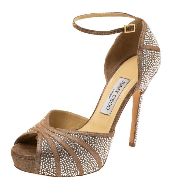 Pre-owned Jimmy Choo Beige Glitter Suede Kalpa Crystal Embellished Ankle Strap Platform Sandals Size 38.5