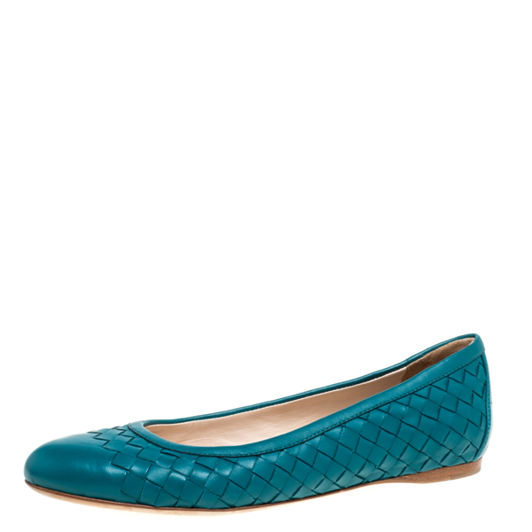 Pre-owned Bottega Veneta Teal Leather Ballet Flats Size 36 In Blue