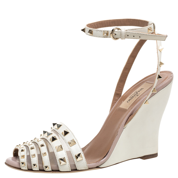 Pre-owned Valentino Garavani White Leather Rockstud Wedge Ankle Strap Sandals Size 38.5