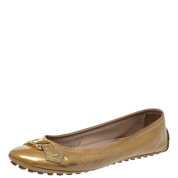 Pre-owned Louis Vuitton Beige Patent Leather Oxford Ballet Flats Size 38