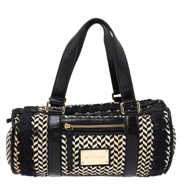 Pre-owned Etro Black/beige Woven Straw And Leather Boston Bag
