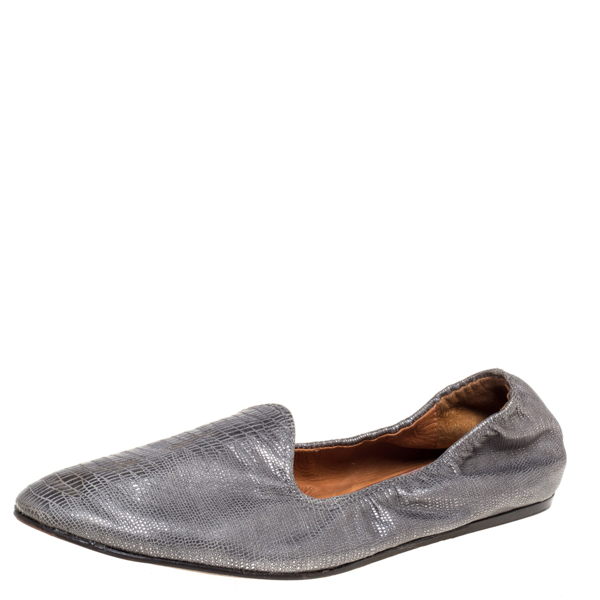 Pre-owned Lanvin Metallic Grey Embossed Leather Scrunch Smoking Slippers Size 36