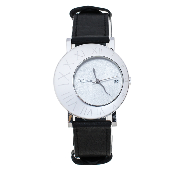 Pre-owned Roberto Cavalli Silver Stainless Steel Leather Meteora R7251116015 Women's Wristwatch 39 Mm In Black