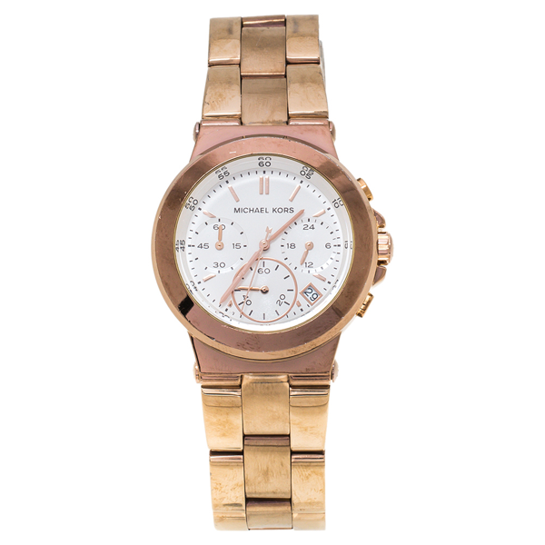 Pre-owned Michael Kors White Rose Gold Tone Stainless Steel Runway Mk5223 Women's Wristwatch 38 Mm