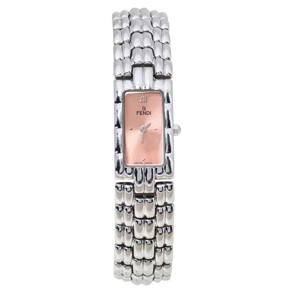 Pre-owned Fendi Salmon Stainless Steel 660l Women's Wristwatch 14 Mm In Silver