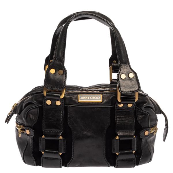 Pre-owned Jimmy Choo Black Leather Malena Satchel