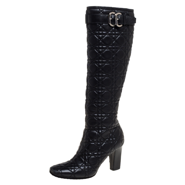 Pre-owned Dior Black Cannage Quilted Leather Buckle Detail Knee High Boots Size 36