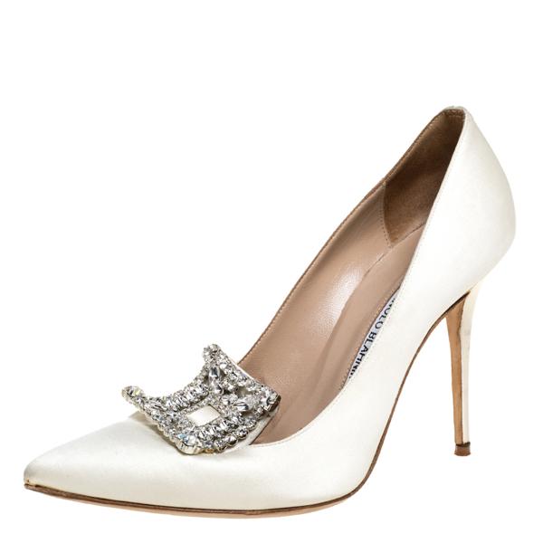 Pre-owned Manolo Blahnik White Satin Crystal Embellished Borlak Pumps Size 40