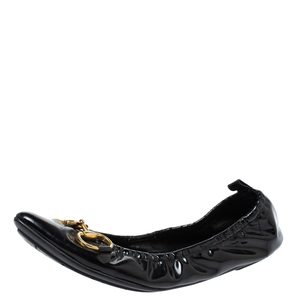 Pre-owned Gucci Black Patent Leather Horsebit Scrunch Pointed Toe Ballet Flats Size 39