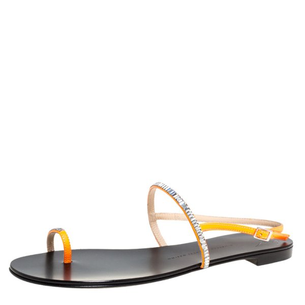 Pre-owned Giuseppe Zanotti Orange Leather Strass Embellished Sling Strap Flat Sandals Size 40