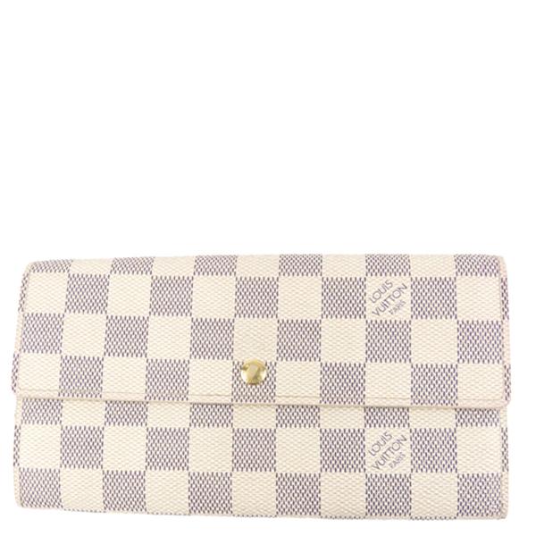 Pre-owned Louis Vuitton Damier Azur Canvas Sarah Long Wallet In Blue