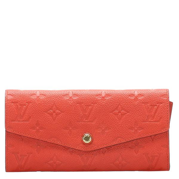 Pre-owned Louis Vuitton Orange Monogram Empreinte Canvas Curieuse Long Wallet