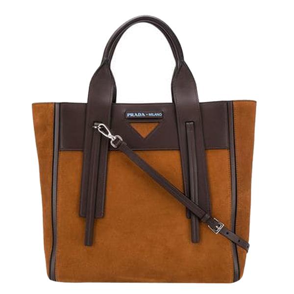 Pre-owned Prada Brown/dark Brown Leather Suede Medium Ouverture Tote Bag