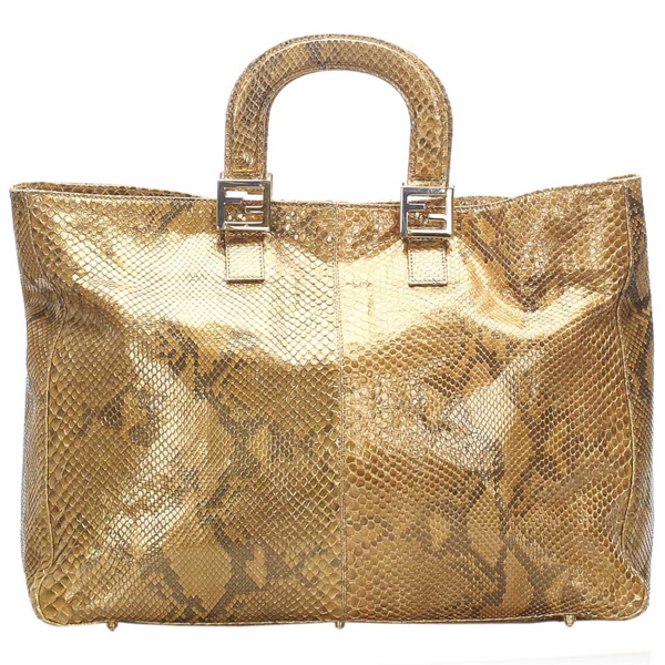 Pre-owned Fendi Brown Snakeskin Leather Tote Bag
