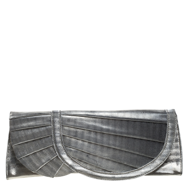 Pre-owned Giorgio Armani Silver Shimmer Fabric Pleated Flap Clutch