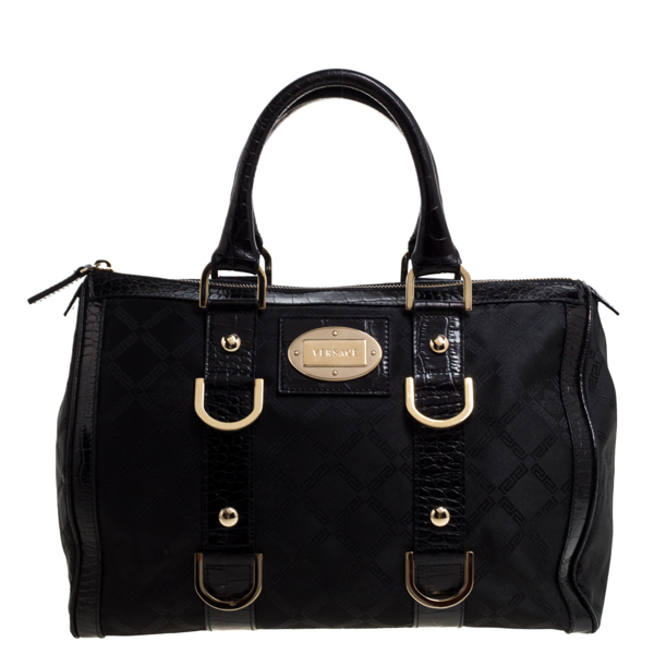 Pre-owned Versace Black Signature Fabric And Croc Embossed Leather Boston Bag
