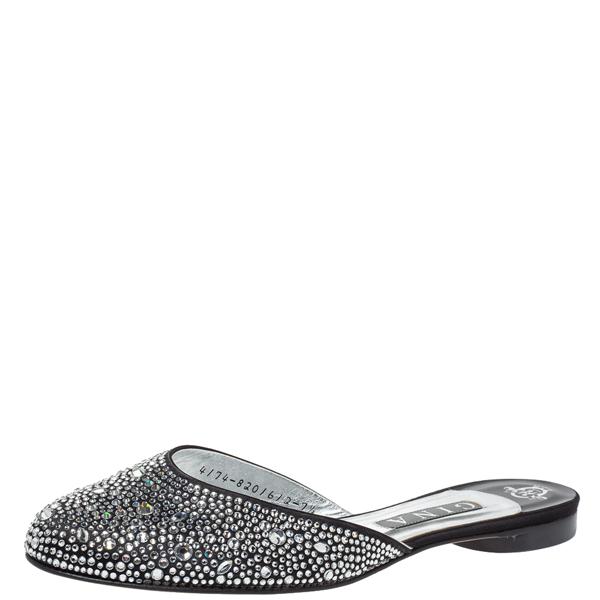 Pre-owned Gina Black Crystal Embellished Satin Flat Mules Size 40.5