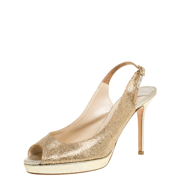 Pre-owned Jimmy Choo Gold Shimmery Fabric Nova Slingback Peep Toe Platform Sandals Size 37.5