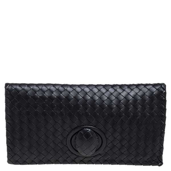 Pre-owned Bottega Veneta Black Intrecciato Leather Twist Lock Clutch
