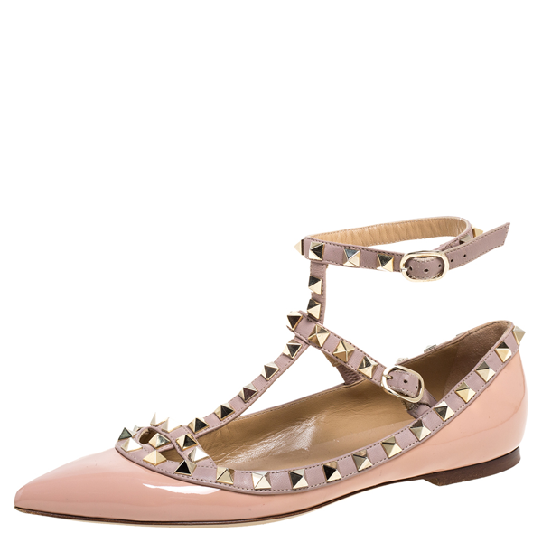 Pre-owned Valentino Garavani Pink Patent Leather Rockstud Ankle Strap Ballet Flats Size 36