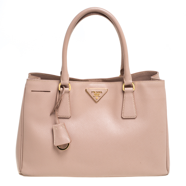 Pre-owned Prada Beige Saffiano Lux Leather Medium Middle Zip Tote