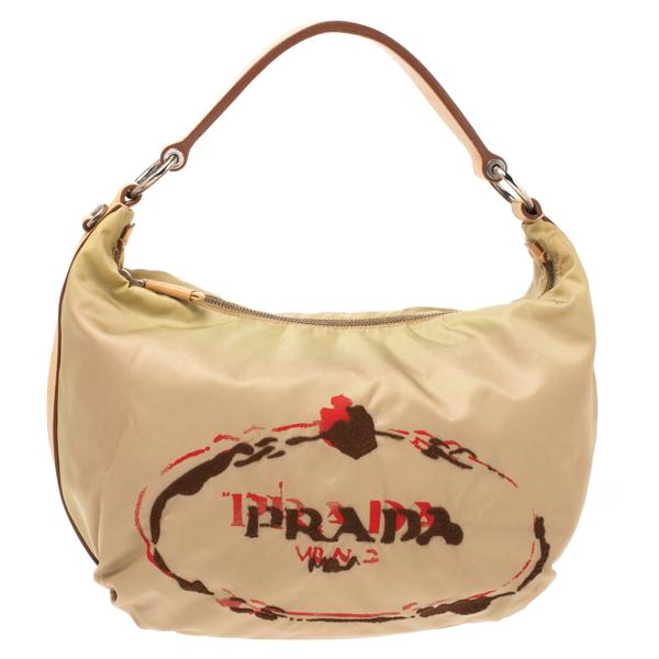 Pre-owned Prada Beige Tessuto Nylon Stencil Hobo