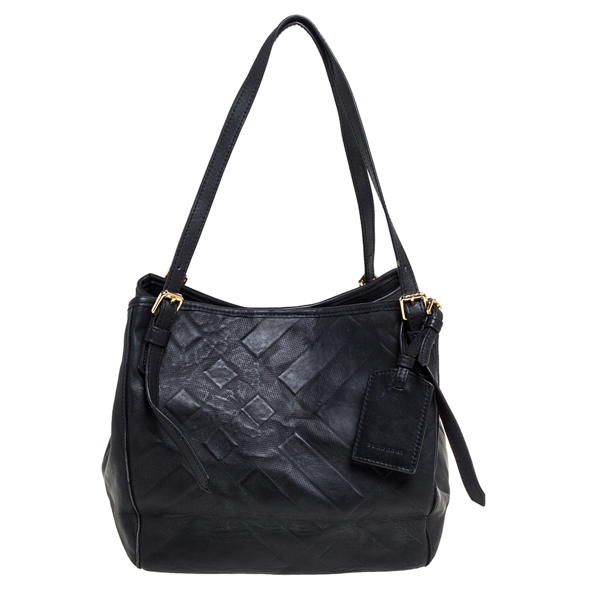 Pre-owned Burberry Black Embossed Check Leather Open Tote