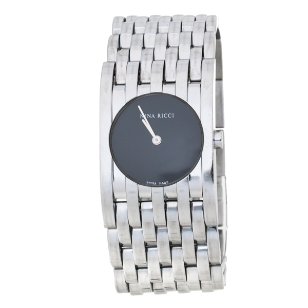 Pre-owned Nina Ricci Black Stainless Steel Classic N00113 Women's Wristwatch 25 Mm In Silver