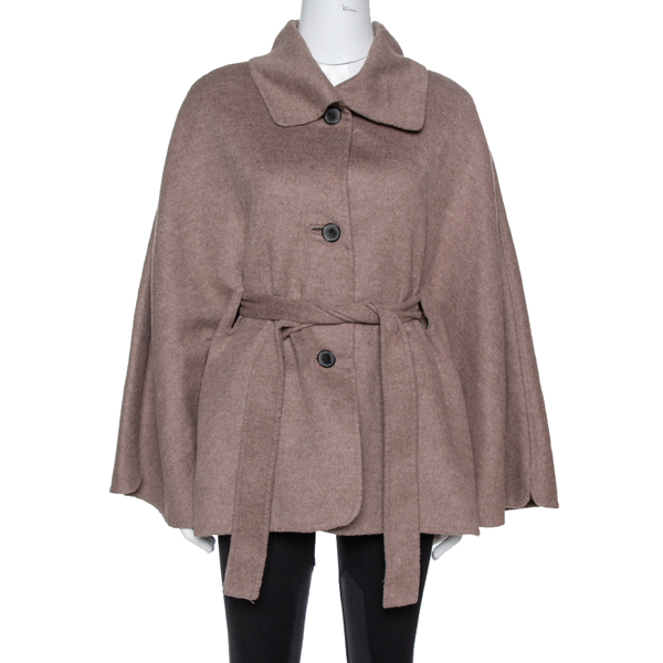 Pre-owned Ch Carolina Herrera Taupe Wool & Cashmere Belted Coat Xs In Brown