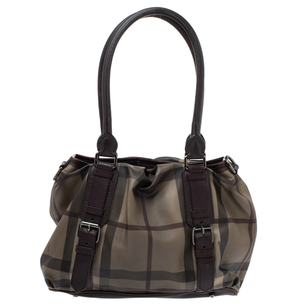 Pre-owned Burberry Dark Brown Haymarket Check Coated Canvas Small Northfield Tote