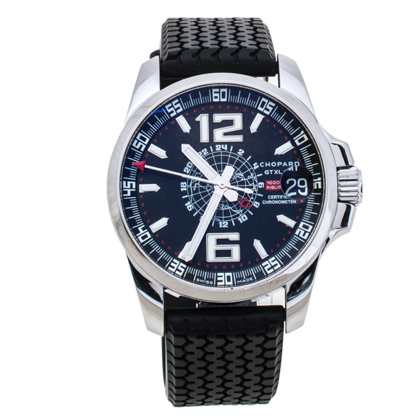 Pre-owned Chopard Black Stainless Steel Rubber Mille Miglia Gt Xl 16-8514-3001 Men's Wristwatch 44 Mm