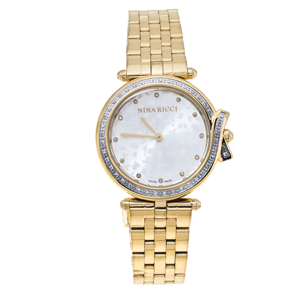 Pre-owned Nina Ricci Silver Yellow Gold Plated Stainless Steel Diamond Classic N067013sm Women's Wristwatch 33