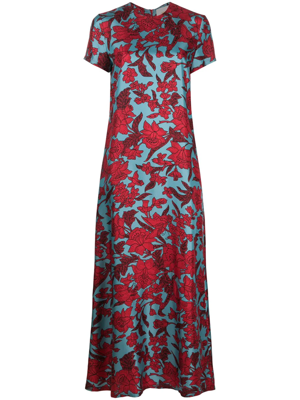 La Doublej Floral Print Swing Dress In Red