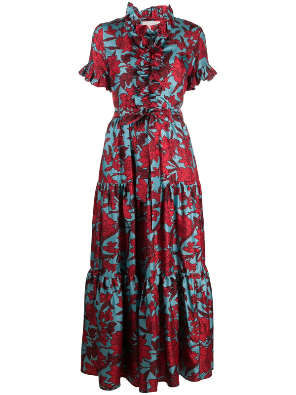 La Doublej Long And Sassy Floral Ruffle Dress In Red