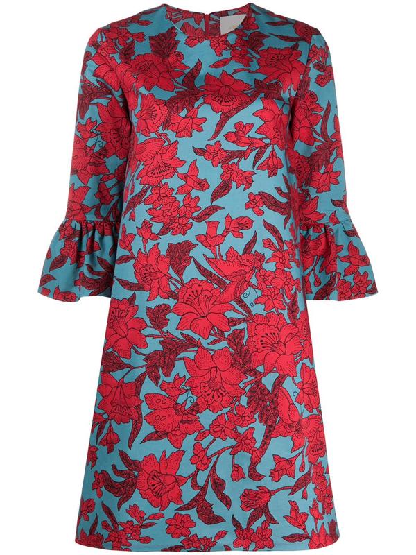 La Doublej 24/7 Floral Print Dress In Red