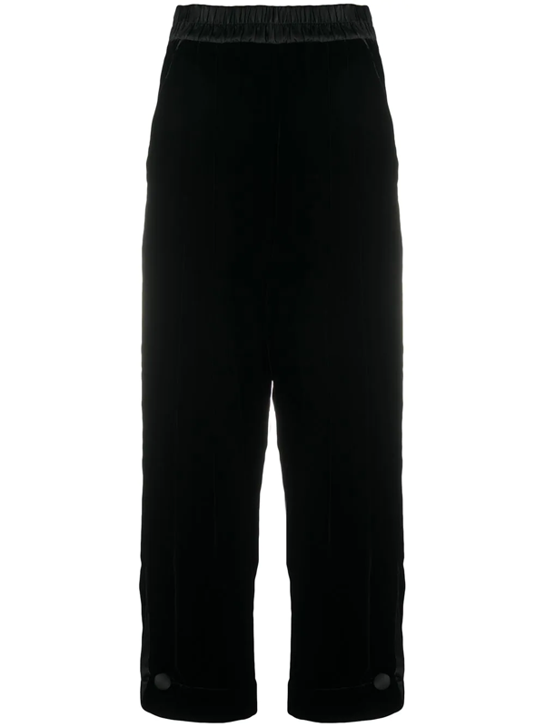 Emporio Armani Wide-leg High-waist Trousers In Black