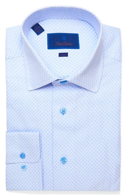 David Donahue Trim Fit Dot Dress Shirt In Sky