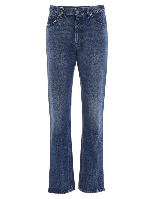 Gucci Logo Patch Jeans In Blue