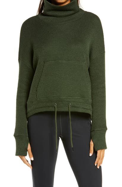 Sweaty Betty Boucle Funnel Neck Sweatshirt In Olive Green