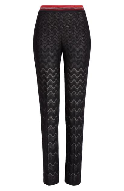 Missoni Knit Wool Blend Pants In Black