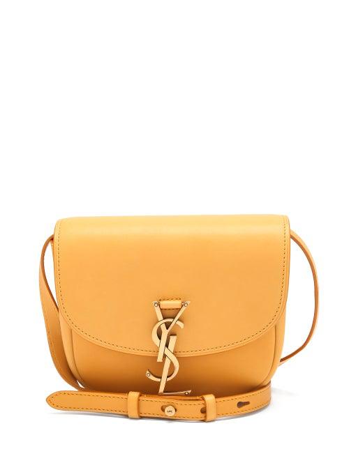 Saint Laurent Kaia Medium Ysl-plaque Leather Cross-body Bag In Senape Yellow