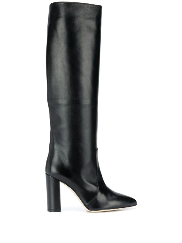 Paris Texas Knee-length Pointed Boots In Black