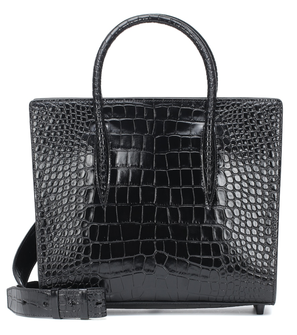 Christian Louboutin Paloma Medium Rubber-trimmed Croc-effect Leather Tote In Black