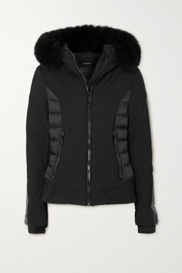 Goldbergh Kaja Hooded Faux Fur-trimmed Paneled Down Ski Jacket In Black